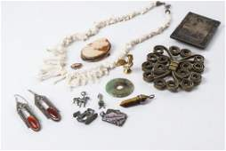 Jewelry Group Lot Gold Jade Coral  Cameo Pieces