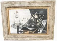 Brice Mid Century Modernist Cubist School Painting