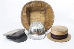Collection Vintage Hats & Helmet w Handmade Basket