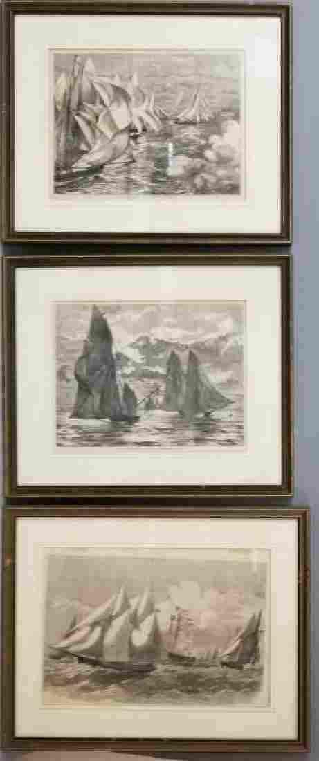 3 Framed Antique Engravings of Regattas Harper's