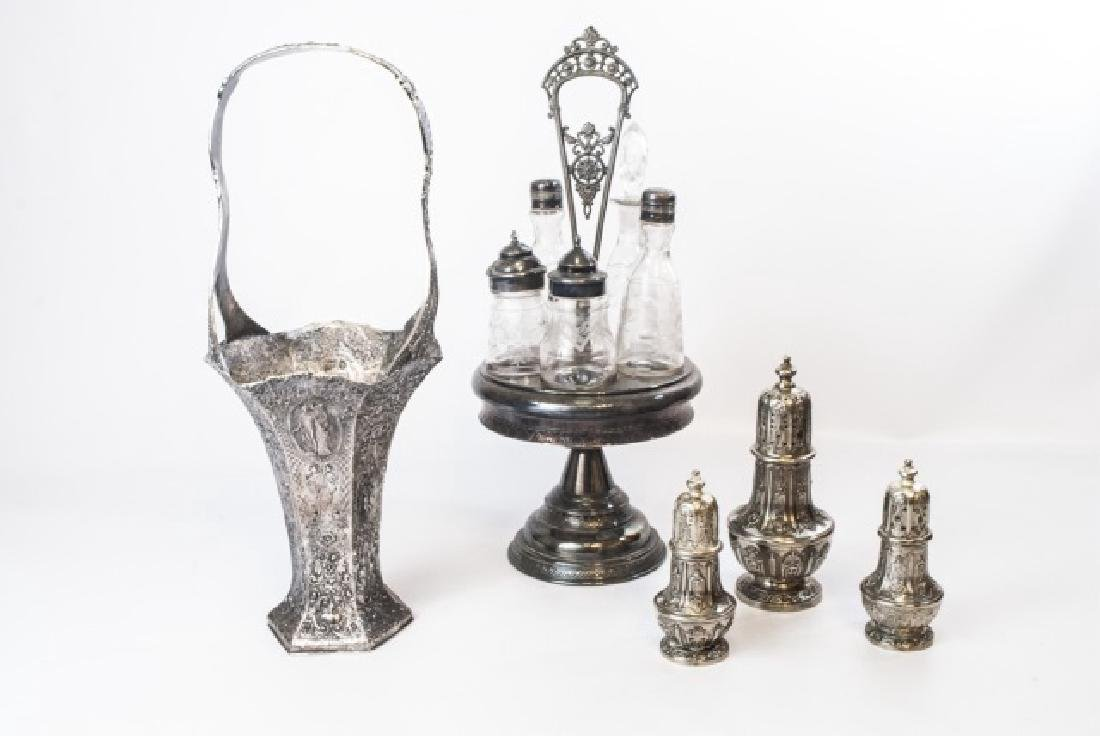 Collection of S/P Pieces Including Condiment Caddy