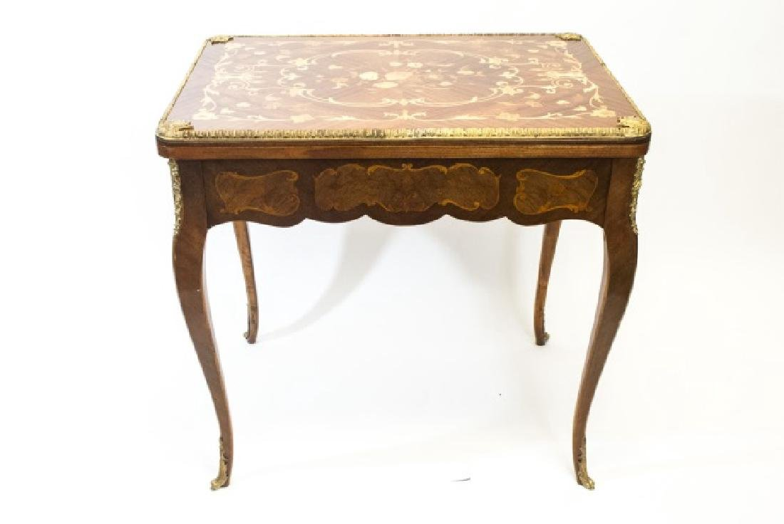 Quality French Marquetry & Ormolu Flip Top Table