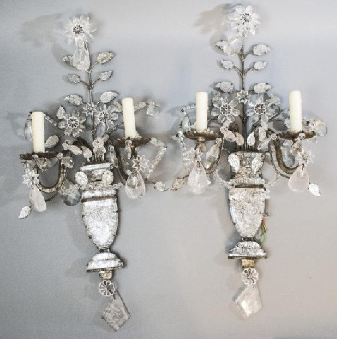 Pair French Bagues Style Rock Crystal Wall Sconces