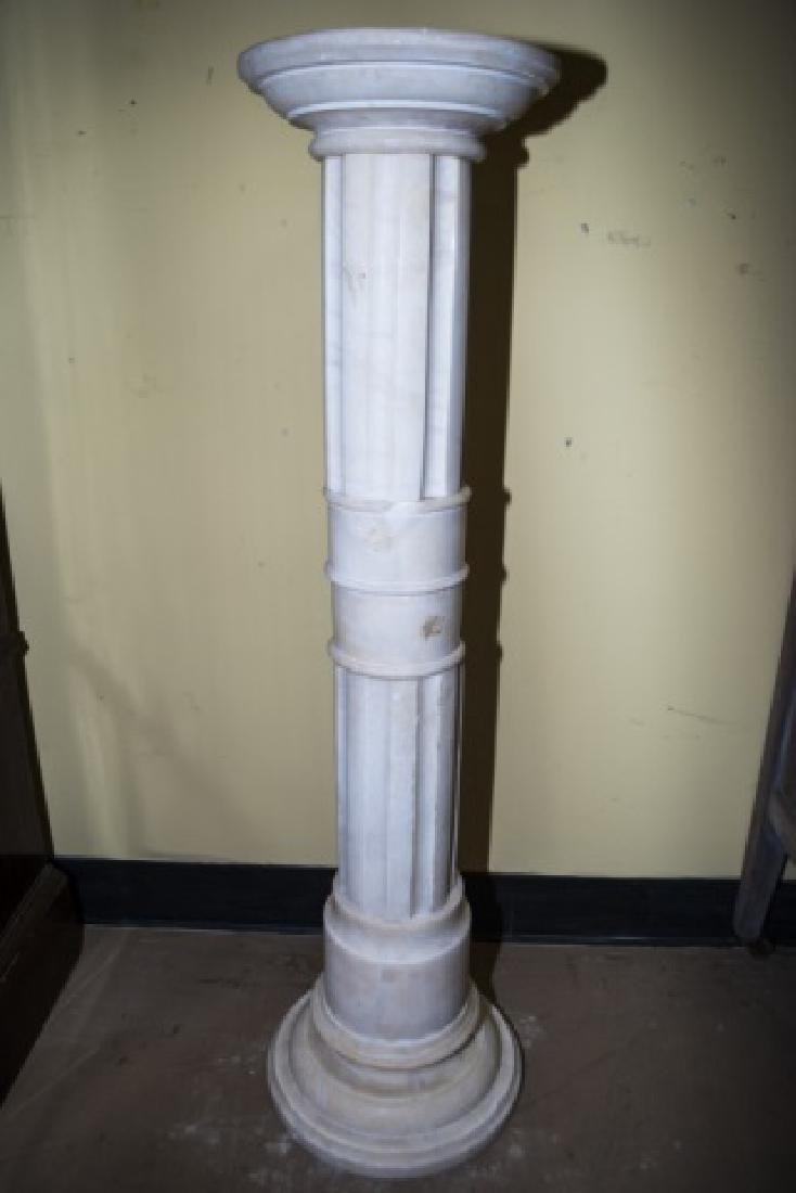 Antique 19th C Carved White Marble Pedestal