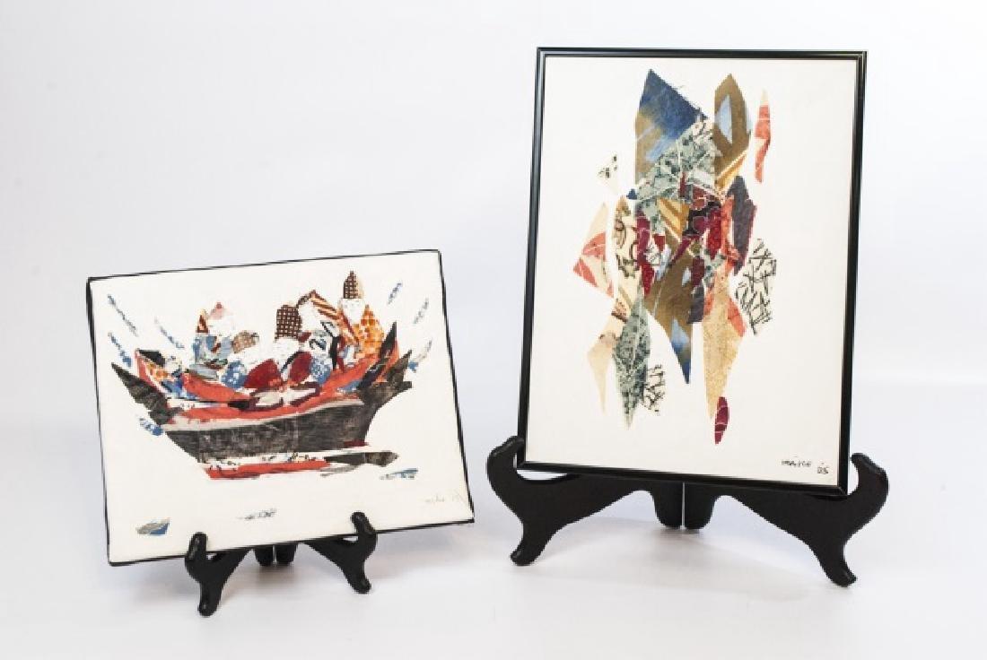 2 Miko Goodnough Original Signed Collage Artworks