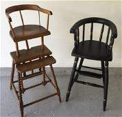 Two Antique 19th C American Child's High Chairs