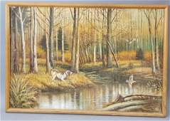 Signed Oil on Canvas Hunting Scene with Dog & Bird