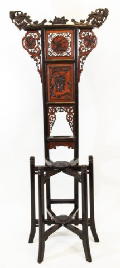 Ornately Carved Hardwood Chinese Hall Stand
