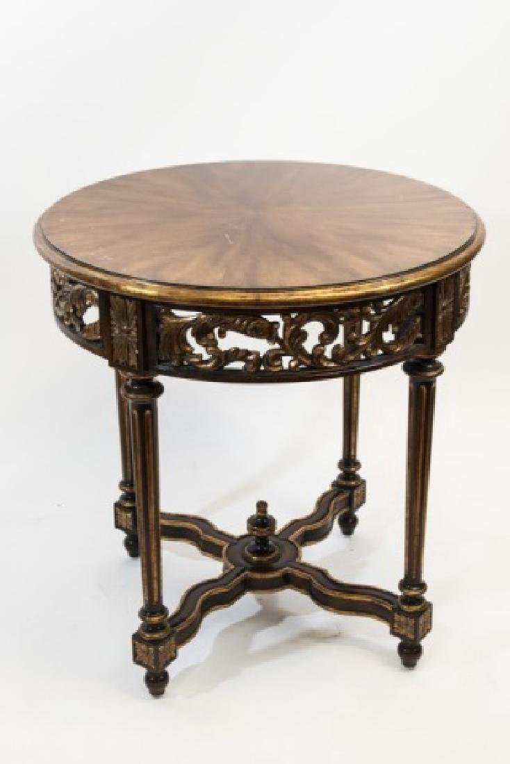 Quality Carved & Gilt Wood Round End Table
