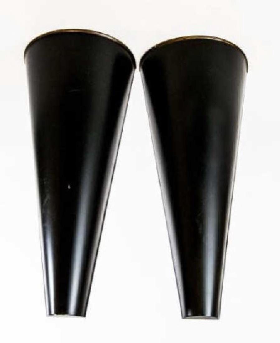 Pair of Black & Gold Tole Metal Wall Vases