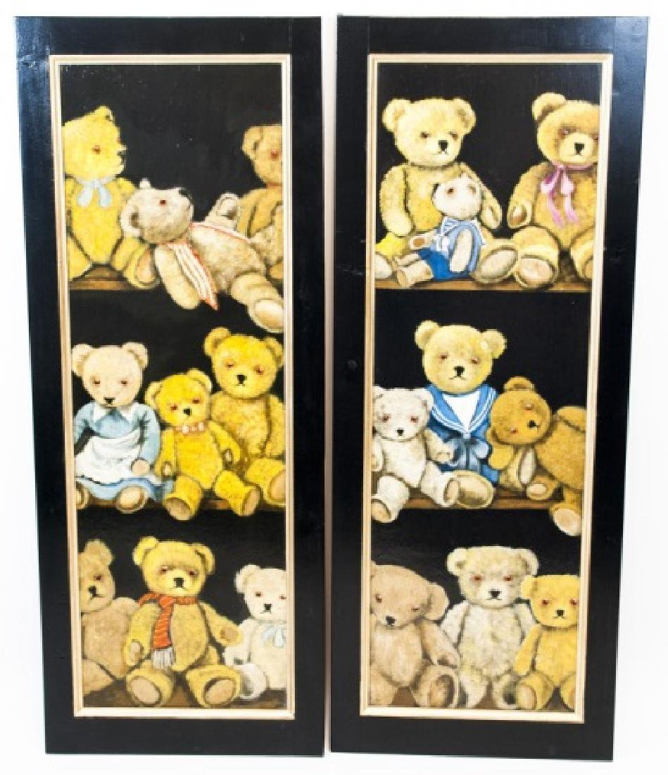 Pair Hand Painted Wall Plaques of Teddy Bears