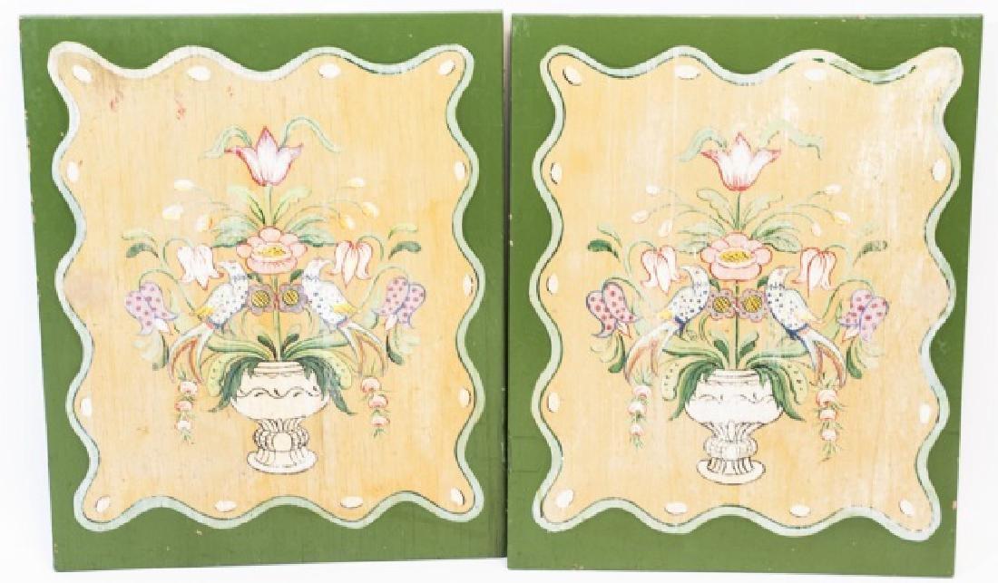 Pair Antique American Folk Art Paintings on Board