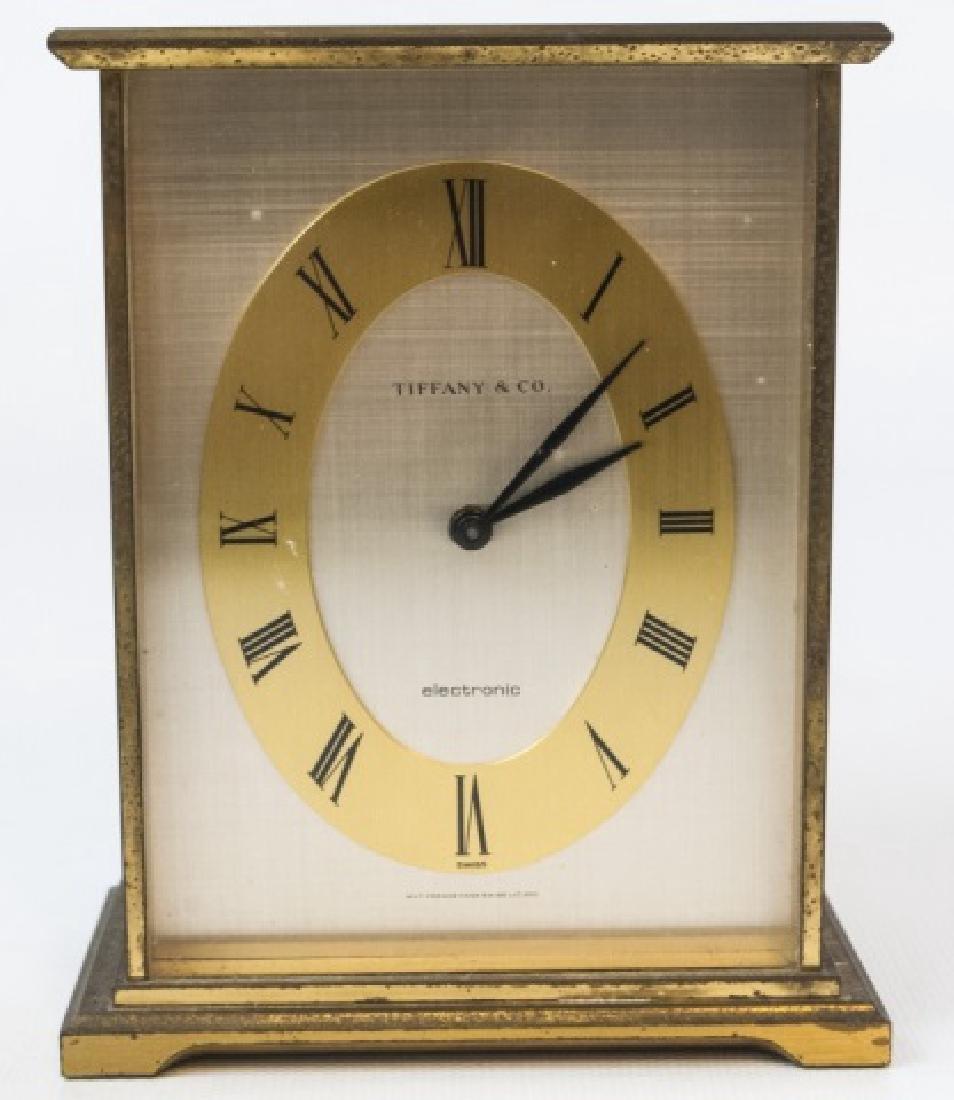 Vintage Brushed Gold-Tone Cased Tiffany Clock