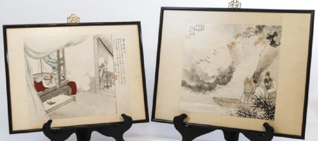 Pair of Framed Chinese Prints w Ornamental Hangers