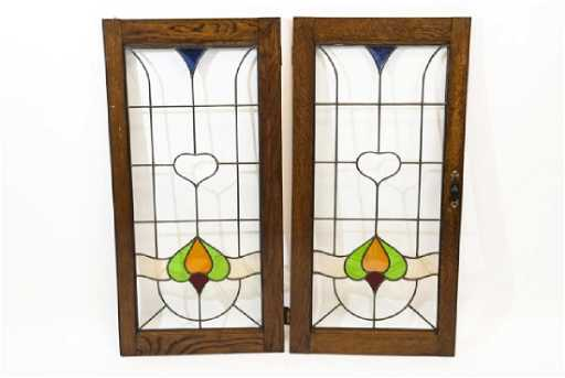 Pair Antique Oak Framed Stained Glass Panels
