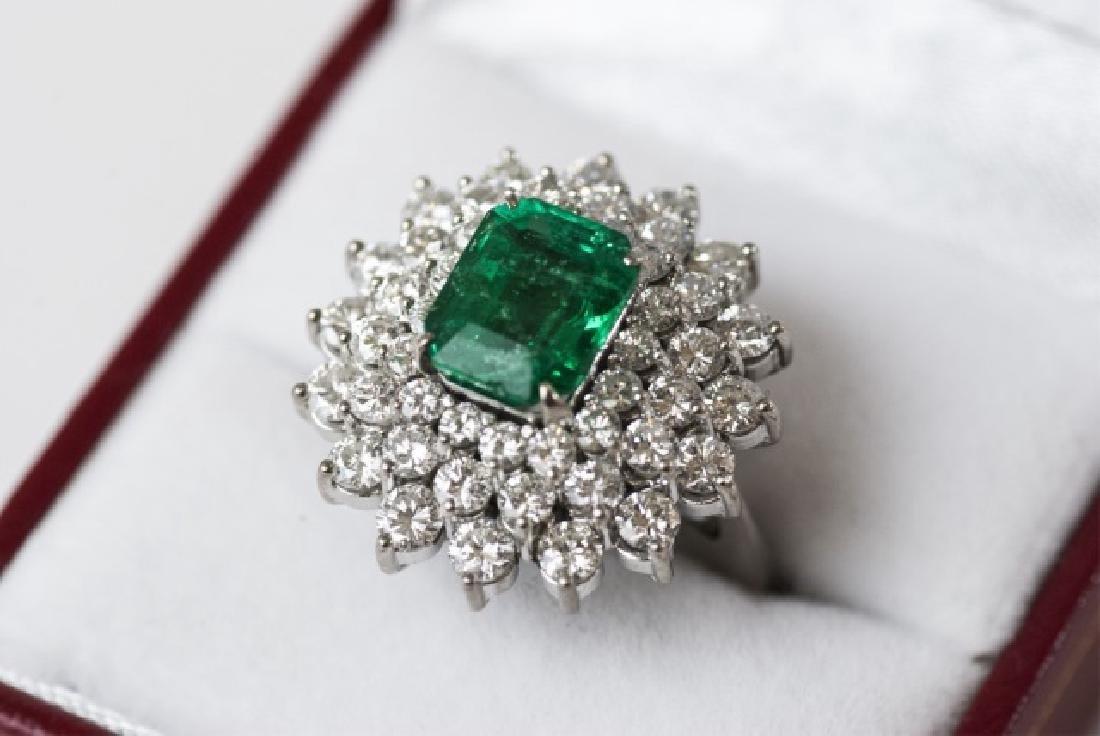 Impressive Estate 2.5 Ct Emerald 3 Ct Diamond Ring