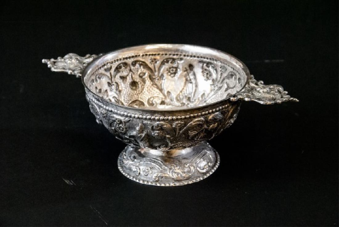 Antique 19th C Dutch Repousse Silver Compote