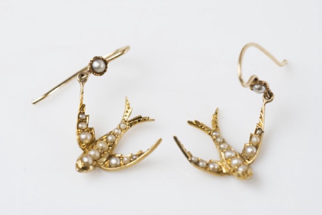 Pair Antique Split Pearl 14k Gold Sparrow Earrings