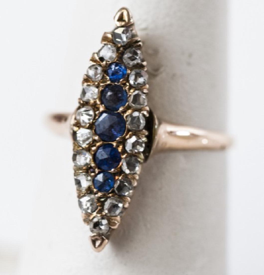 Antique Rose Cut Diamond & Sapphire Navette Ring