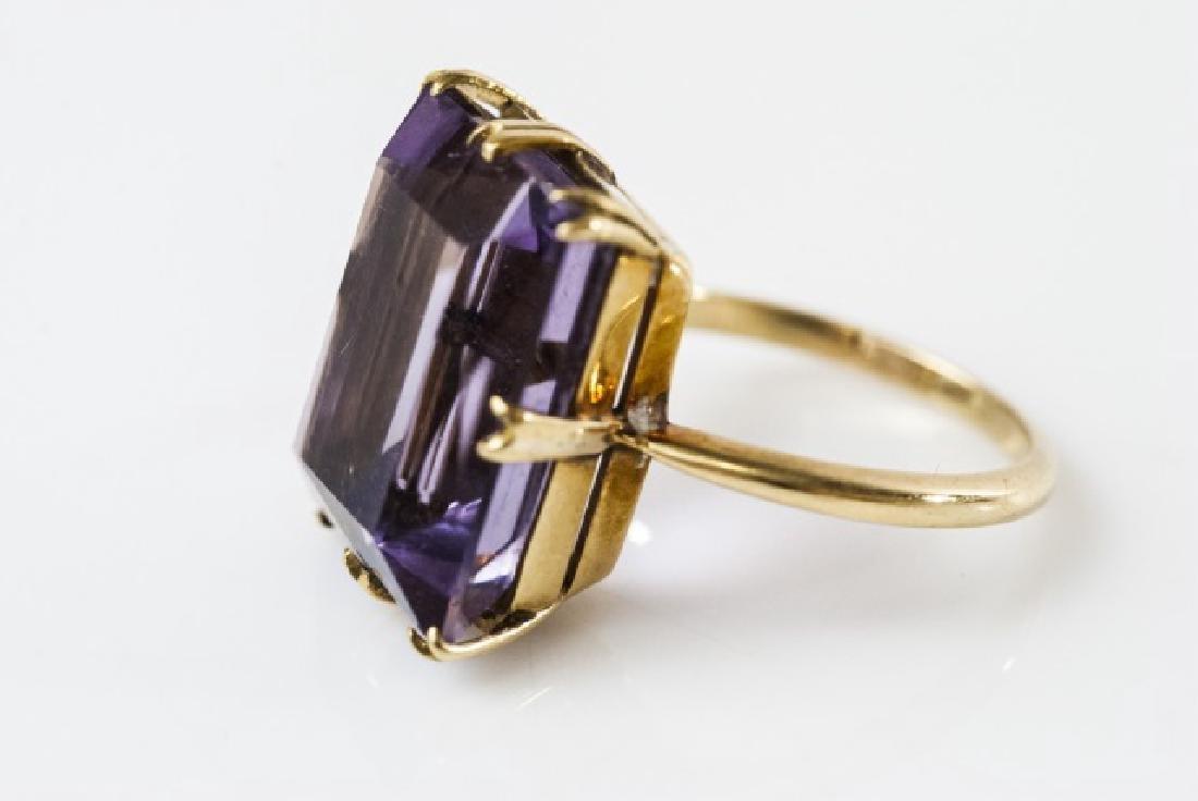 Estate 18kt Gold & 12 Carat Amethyst French Ring