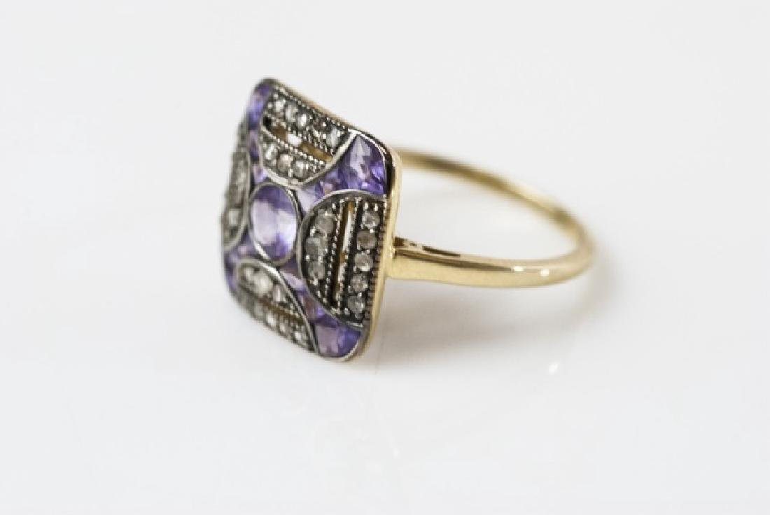 Amethyst & Diamond Edwardian Style Ring