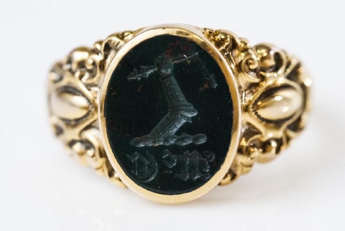 Antique 19th C Victorian 14kt Gold Intaglio Ring