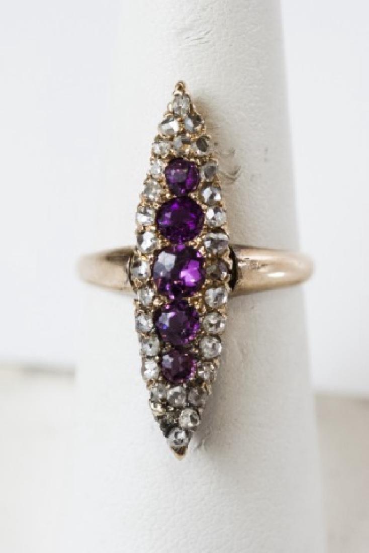 Antique Rose Cut Diamond & Garnet Navette Ring