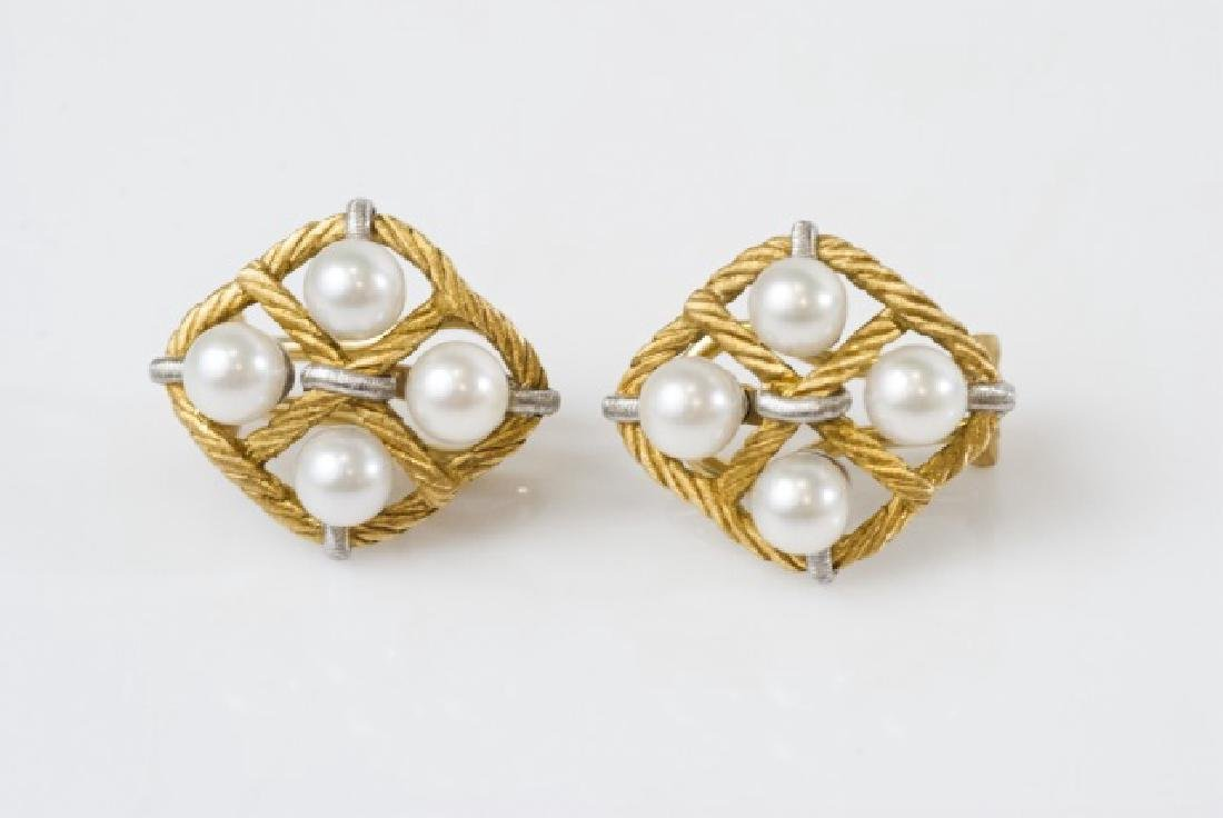 Estate Mario Buccellati 18kt Gold & Pearl Earrings