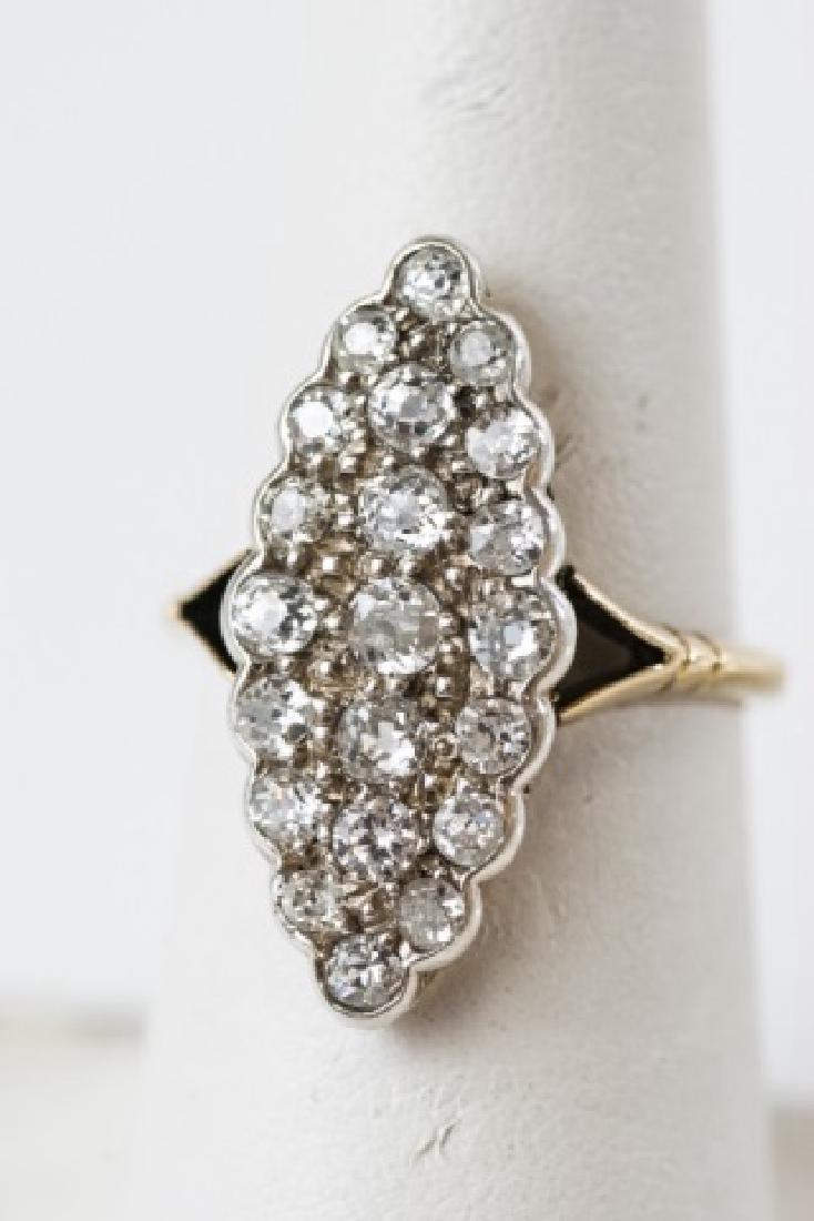 Antique 1.2 Carat Diamond & 18k Gold Navette Ring