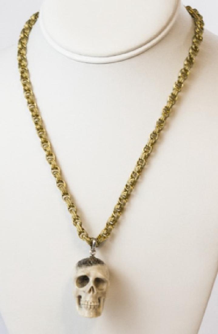 Memento Mori Skull Pendant Vintage Chain Necklace