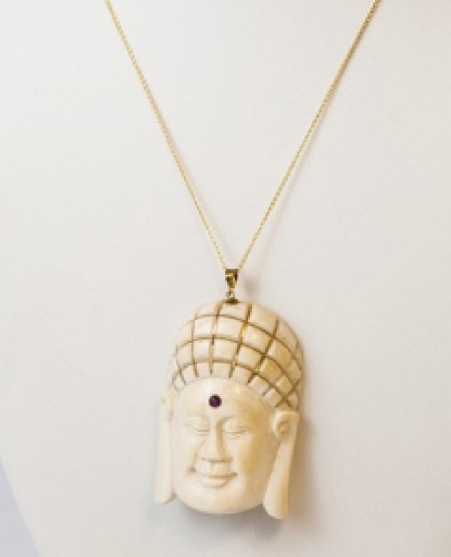 Estate 14kt Gold Buddha Head Necklace Pendant