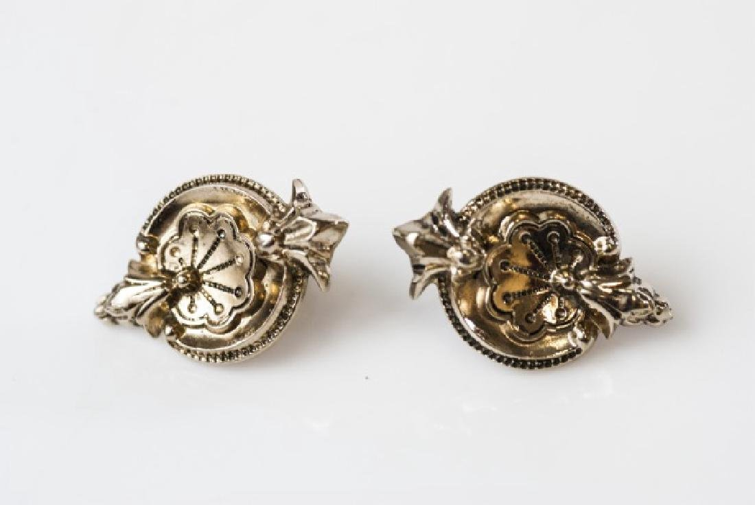 Pair of Antique Gilt Metal Rocaille Shell Earrings