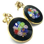 Estate Murano  Venetian Glass  18k Gold Earrings