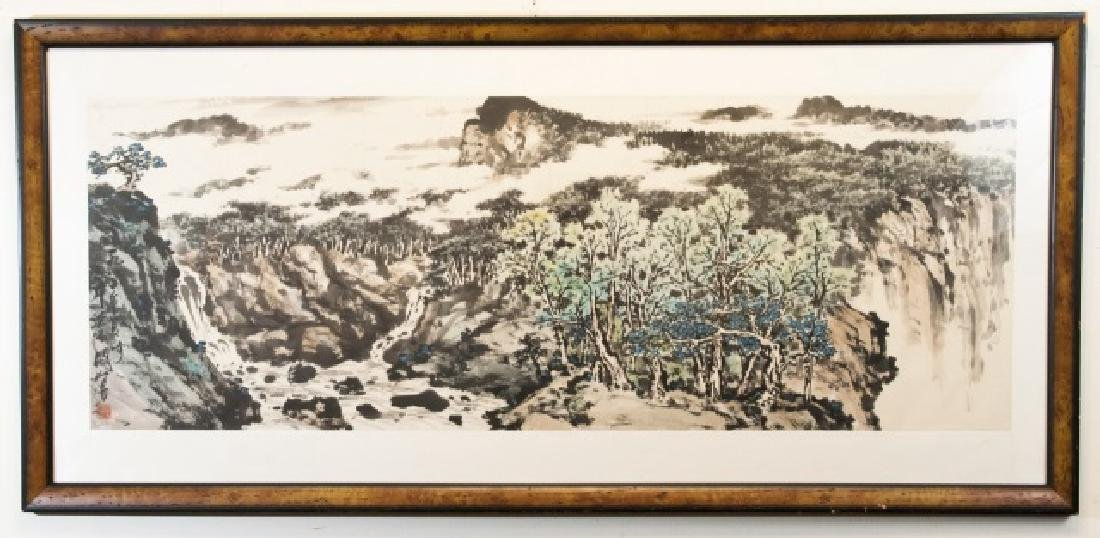 Large Chinese Signed & Stamped Watercolor Painting