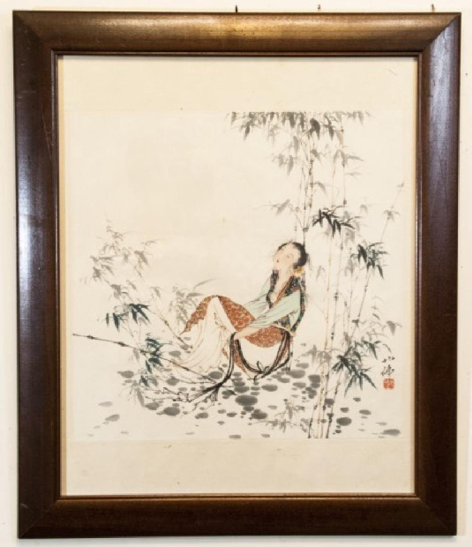 Chinese Signed Watercolor Painting of a Lady