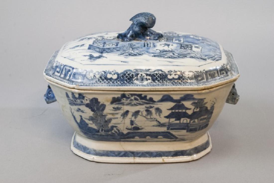 Large Chinese Porcelain Blue & White Tureen