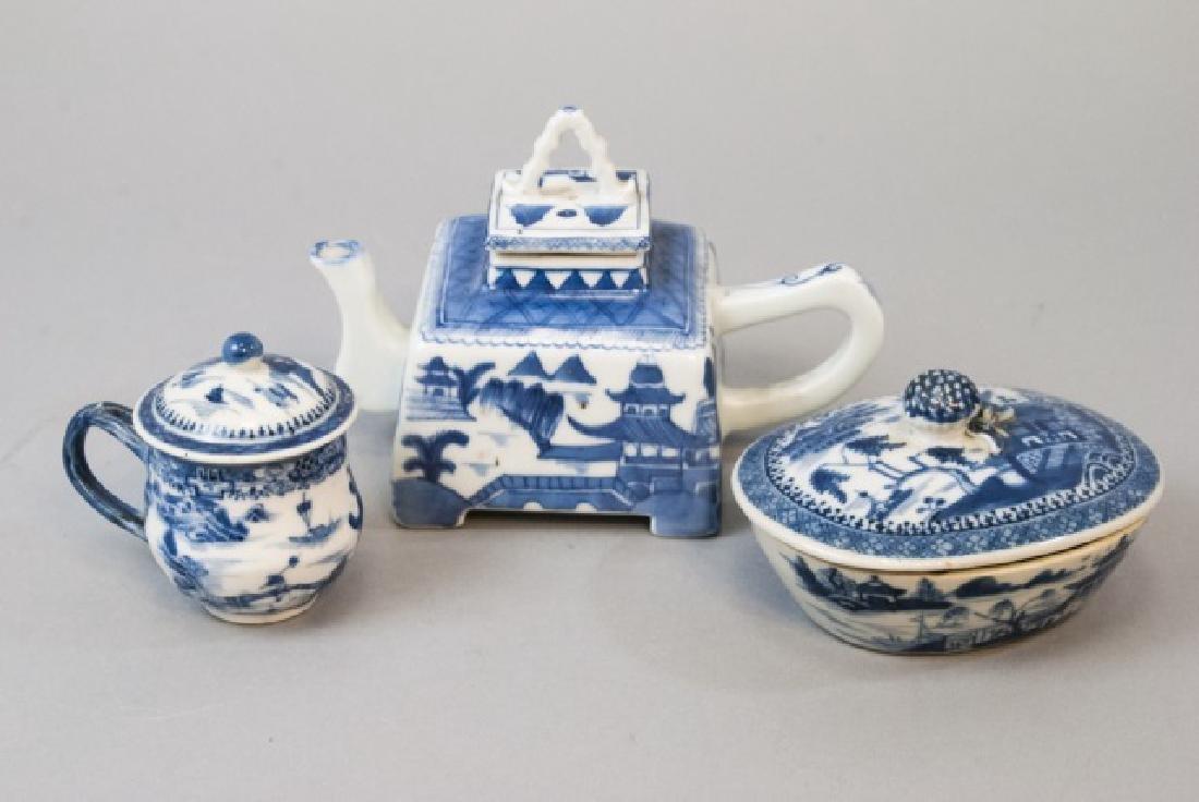 Chinese Canton Porcelain Teapot, Tureen & Jar