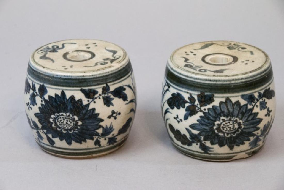 Pair of Chinese Blue & White Porcelain Pedestals