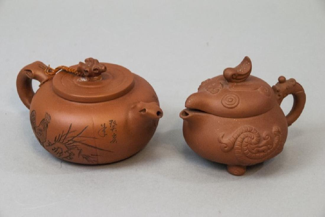 Two Signed Chinese Clay Tea Pots