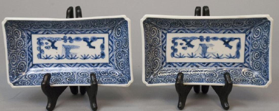 Pair Signed Chinese Porcelain Rectangular Plates
