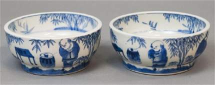 Pair Signed Chinese Porcelain Blue & White Bowls