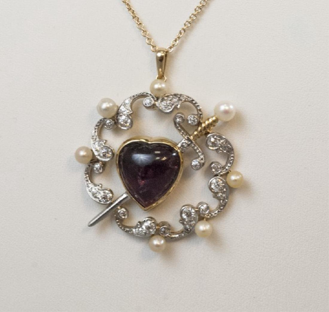 Antique Estate Garnet Heart Diamond Sword Pendant