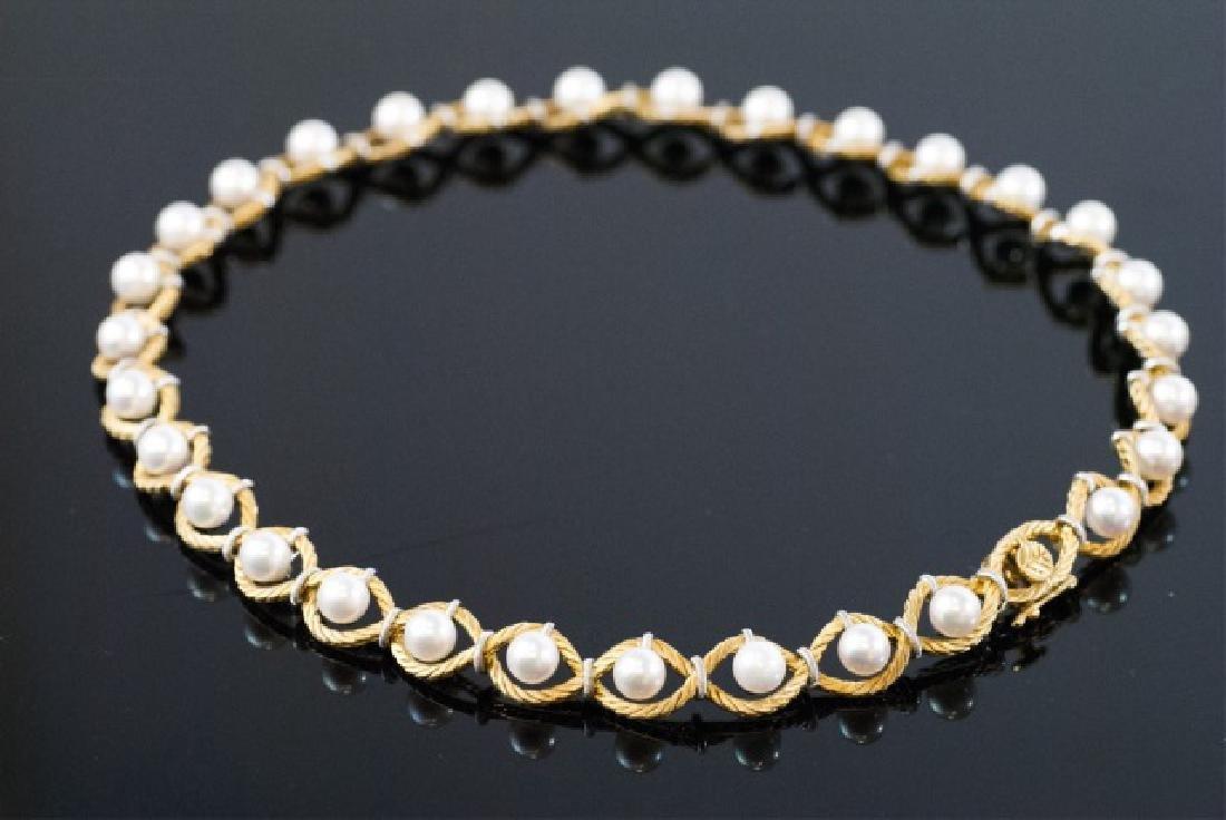 Estate Mario Buccellati 18kt Gold & Pearl Necklace