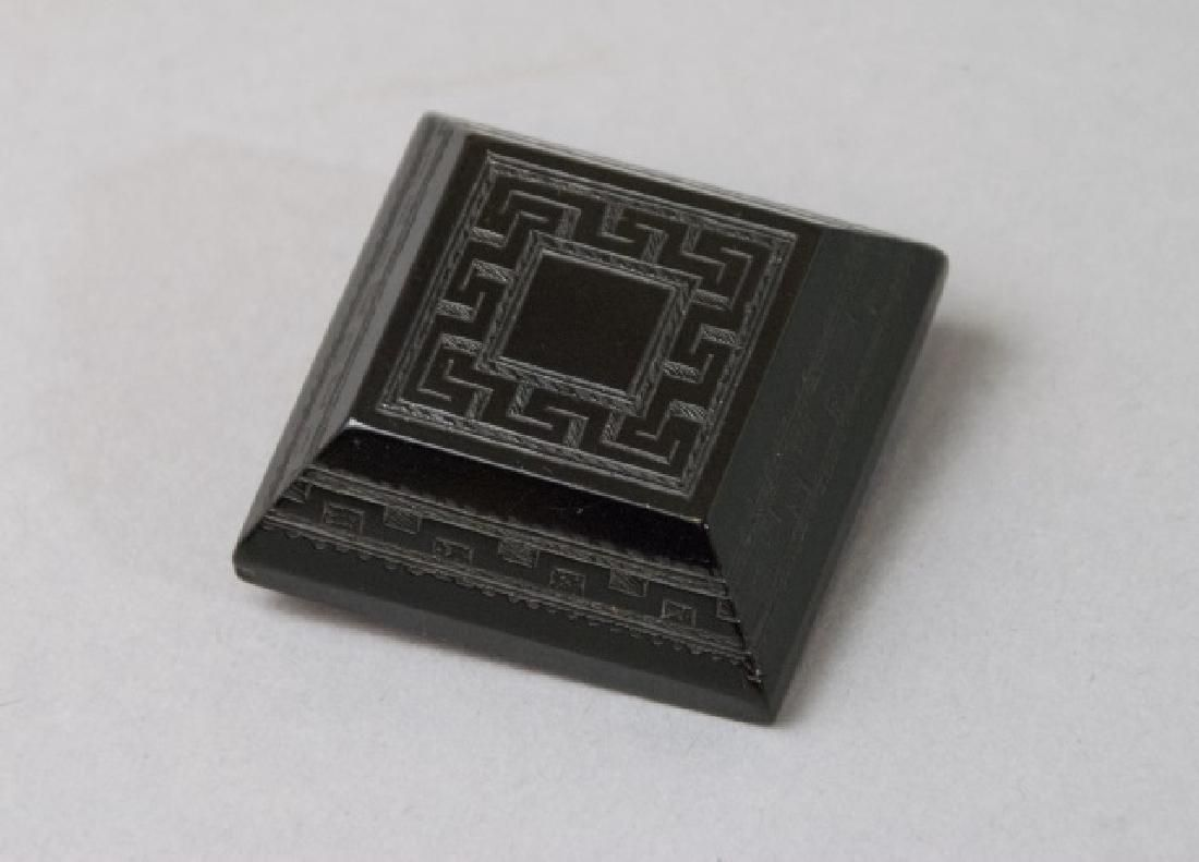 Large 19th C Victorian Carved Whitby Jet Brooch