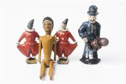 Antique Vintage Wooden Indian Doll & Metal Figures