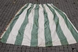 Custom Green & Cream Silk Curtain Panel w Fringe