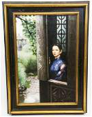 Signed Painting of Asian Woman with Calligraphy