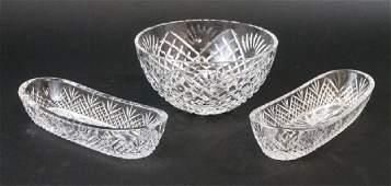 Three Waterford Irish Cut Crystal Serving Bowls