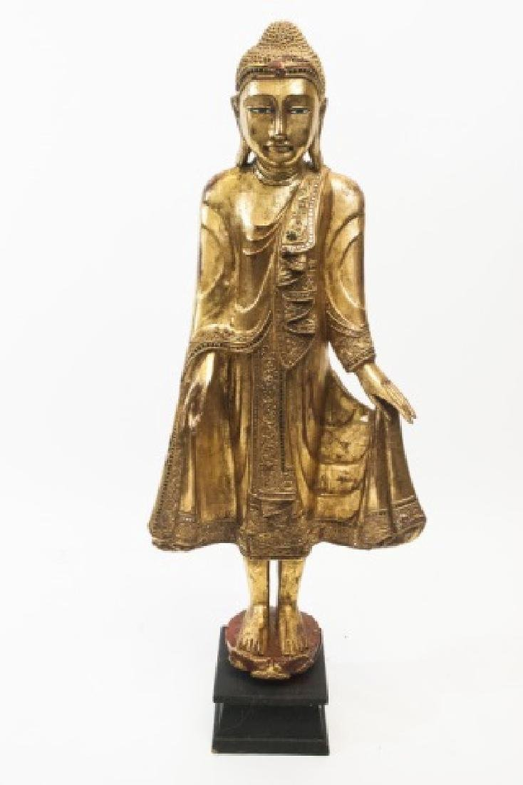 Golden Buddha Upright Statue On Base With Insets