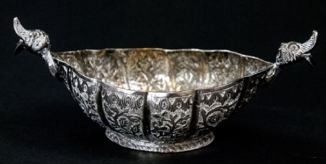 Antique Persian Chased Silver Figural Serving Bowl